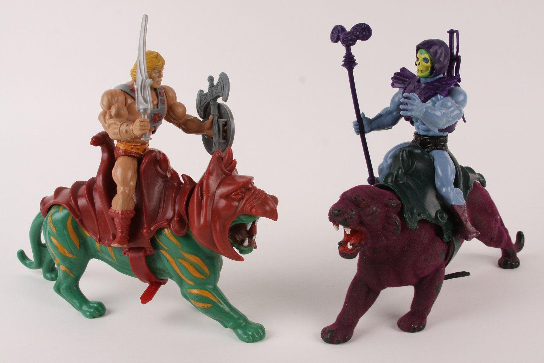 Vintage 1980s HeMan w/ Battlecat VS Skeletor w/ Panther