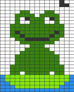 Quadrillage Pixel Animaux Grenouille Kanaviçe Pixel Art
