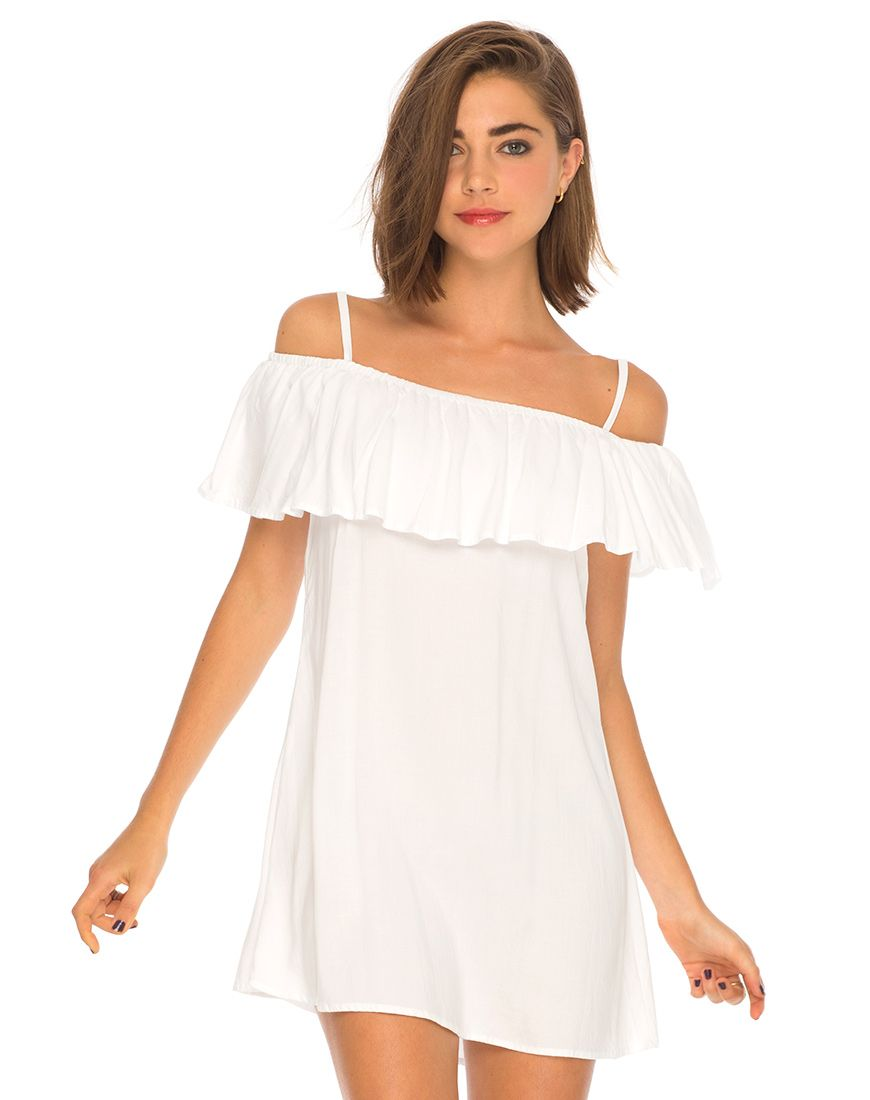 760f9aa5e3 Haian Off The Shoulder Dress in White by Motel | My Style | White ...