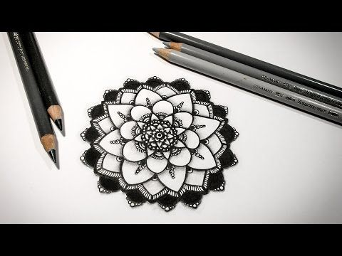 Drawing A Mandala With 4 Elements Shading Tutorial By Barbara Din Mandala Drawing Geometric Tattoo Mandala