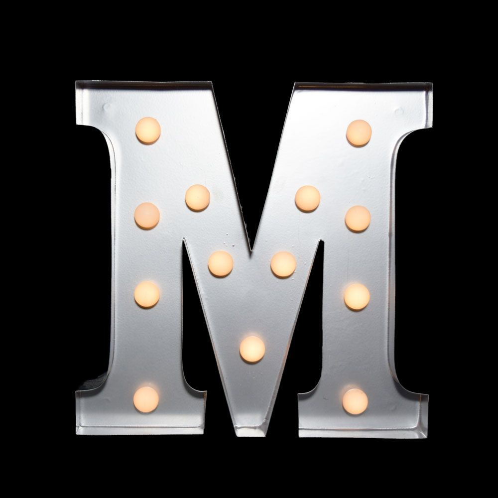 10 Inch Metal Letters White Marquee Light Letter 'm' Led Metal Sign 8 Inch Battery
