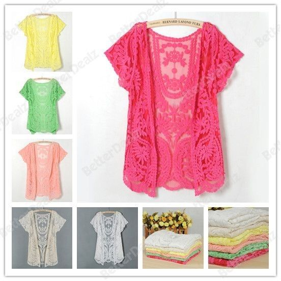 6 Color Sexy Semi Sheer Embroidery Floral Lace Crochet Long Sleeve Blouse