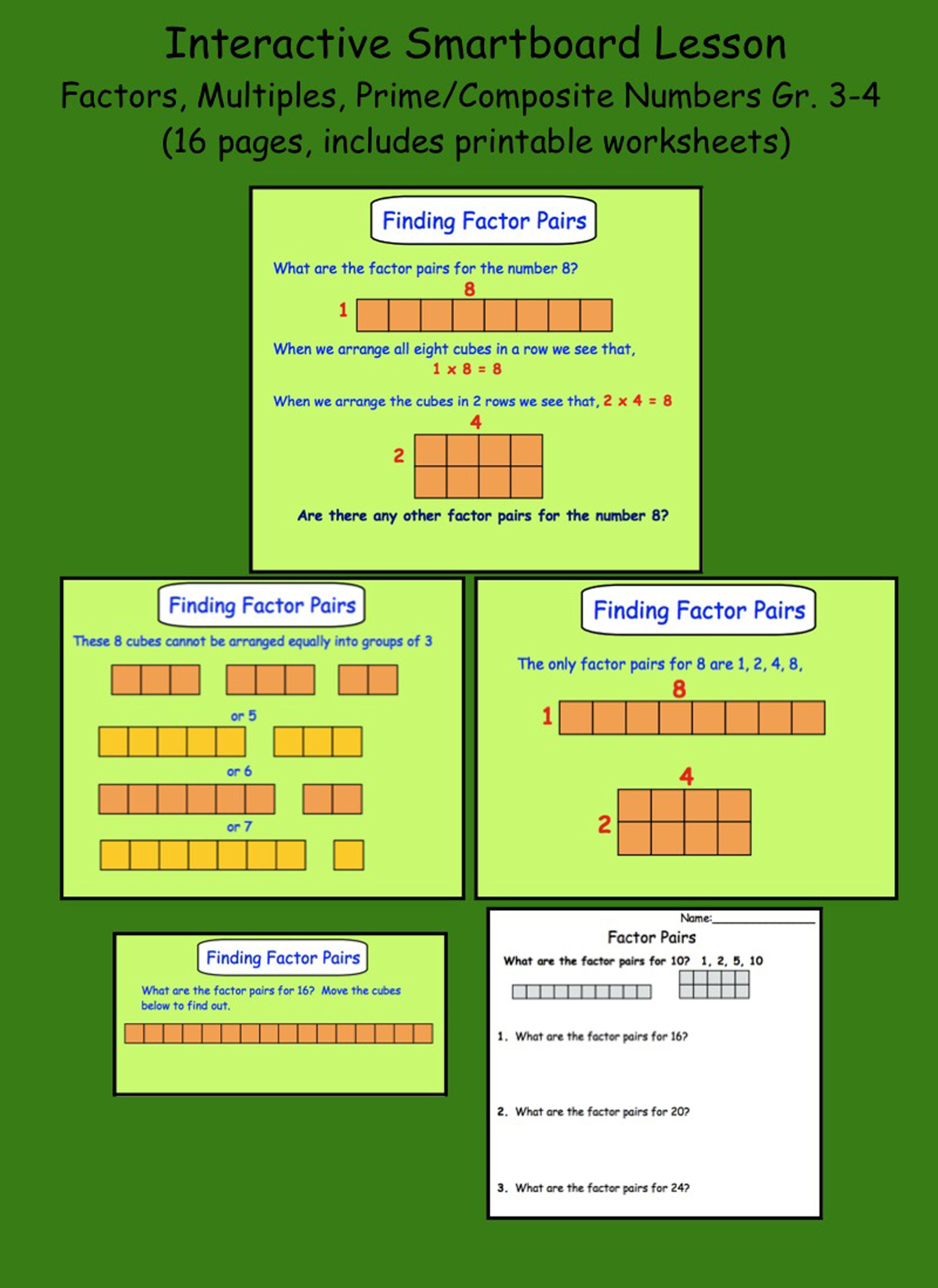 Factors Multiples Prime Composite Numbers Smartboard