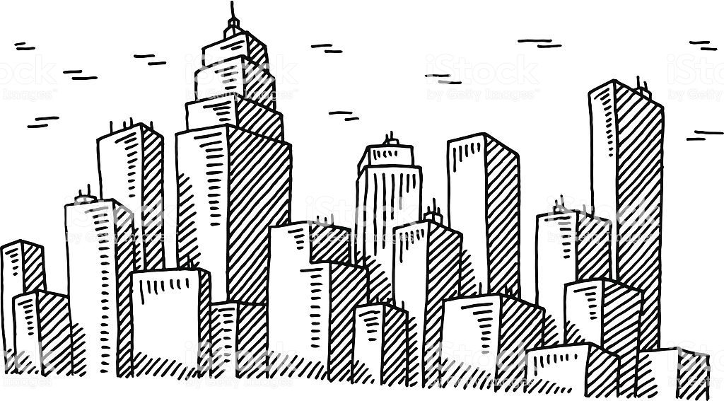 Hand Drawn Vector Drawing Of A Big City Skyline Black And White Skyline Drawing Cityscape Drawing City Drawing