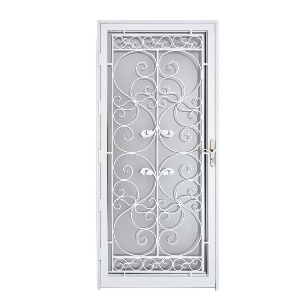 Grisham Naples 36 In X 80 In White Full View Wrought Iron Security Storm Door With Reversible Hinging 37022 The Home Depot In 2020 Security Storm Doors Iron Security Doors Wrought Iron Front Door