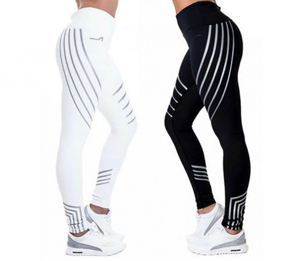 Women's High Waist Striped Leggings #stripedleggings