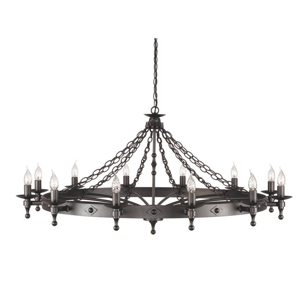 Chester Collection WARWICK Large Wrought Iron Medieval Chandelier