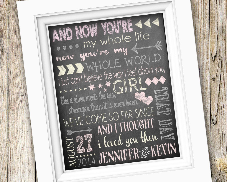 First Dance Wedding Song Lyrics Art Printable