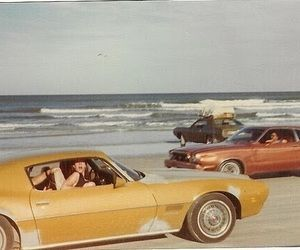 vintage, car, and beach image #retrobeachpictures #yellowaestheticvintage