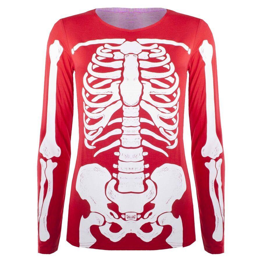 Womens Halloween Bodusuit Skeleton Bones Bodycon Tunic TShirt Top Leggings Dress