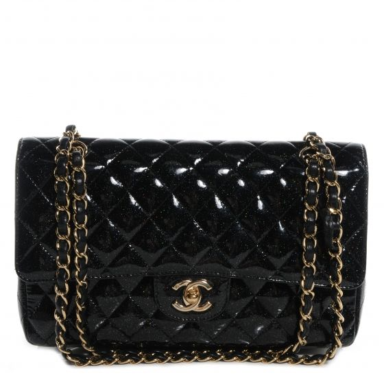 e96e49b7db9c CHANEL Glitter Patent Quilted Evening Star Medium Double Flap Black ...