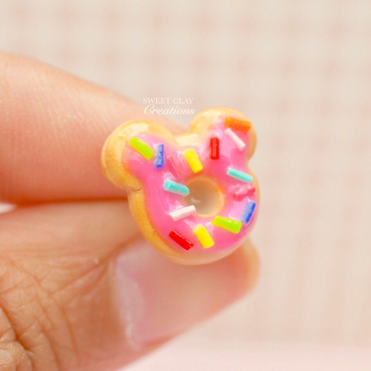 Minnie Pink Donut Ears Post Stud Earrings Polymer Clay Miniature Food Jewelry Handmade by Sweet Clay Creations
