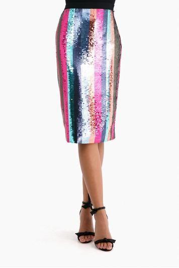 92eeb1dbda9 Tanya Taylor Sequin Striped Samia Skirt
