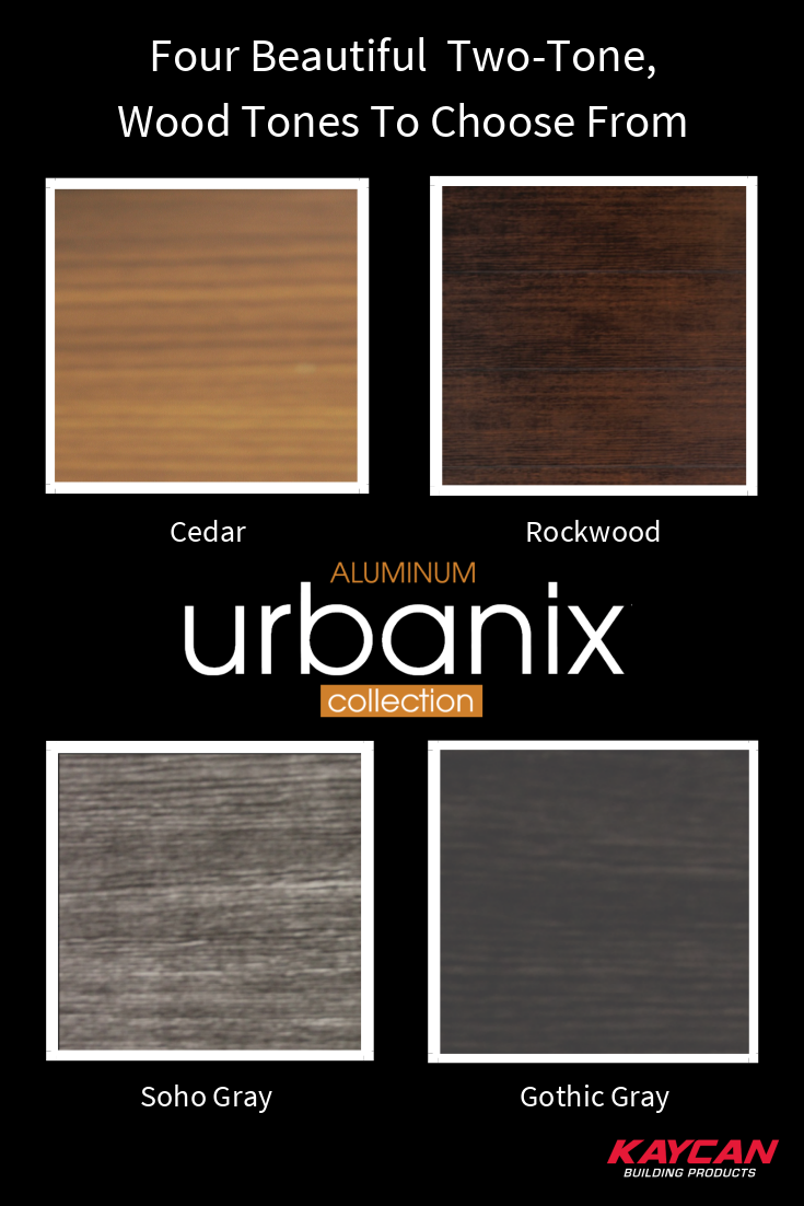 Wood No Vinyl No It S Aluminum The New Urbanix Collection Comes In 4 Beautiful Two Tone Wood Tones Order A Sample Toda Porch Ceiling Porch Design Porch