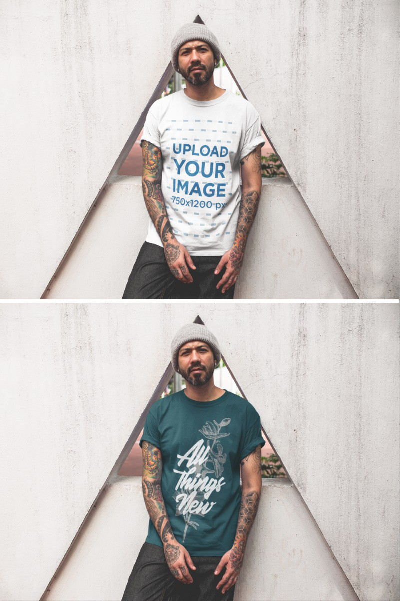 Download Tattooed Man Wearing A T Shirt Mockup While Lying Against A Triangle Structure Clothing Mockup Shirt Mockup How To Wear