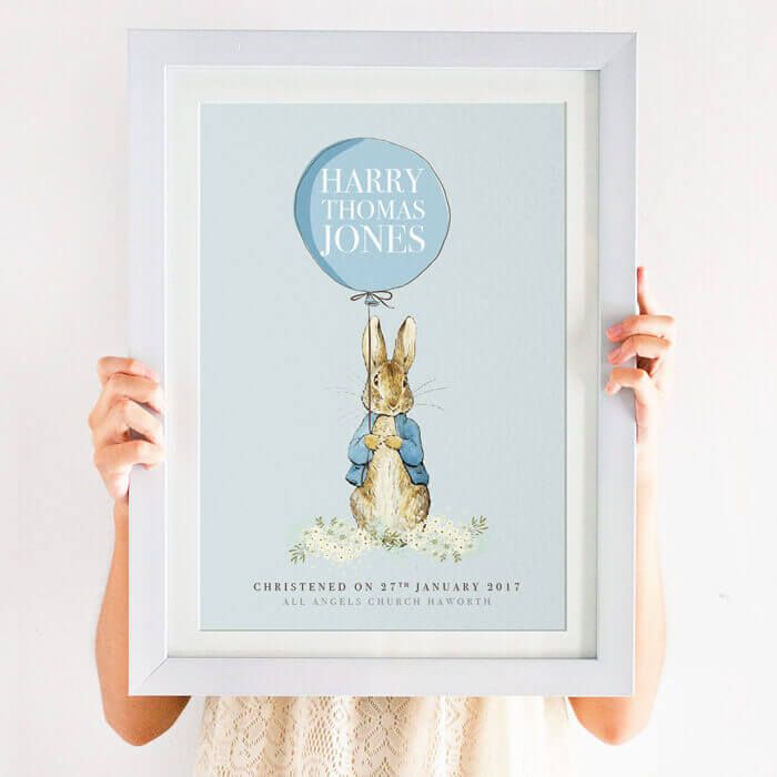 Personalised Peter Rabbit Christening Print A perfect traditional Christening gift for boys or girls This personalised Peter Rabbit christening print makes ...