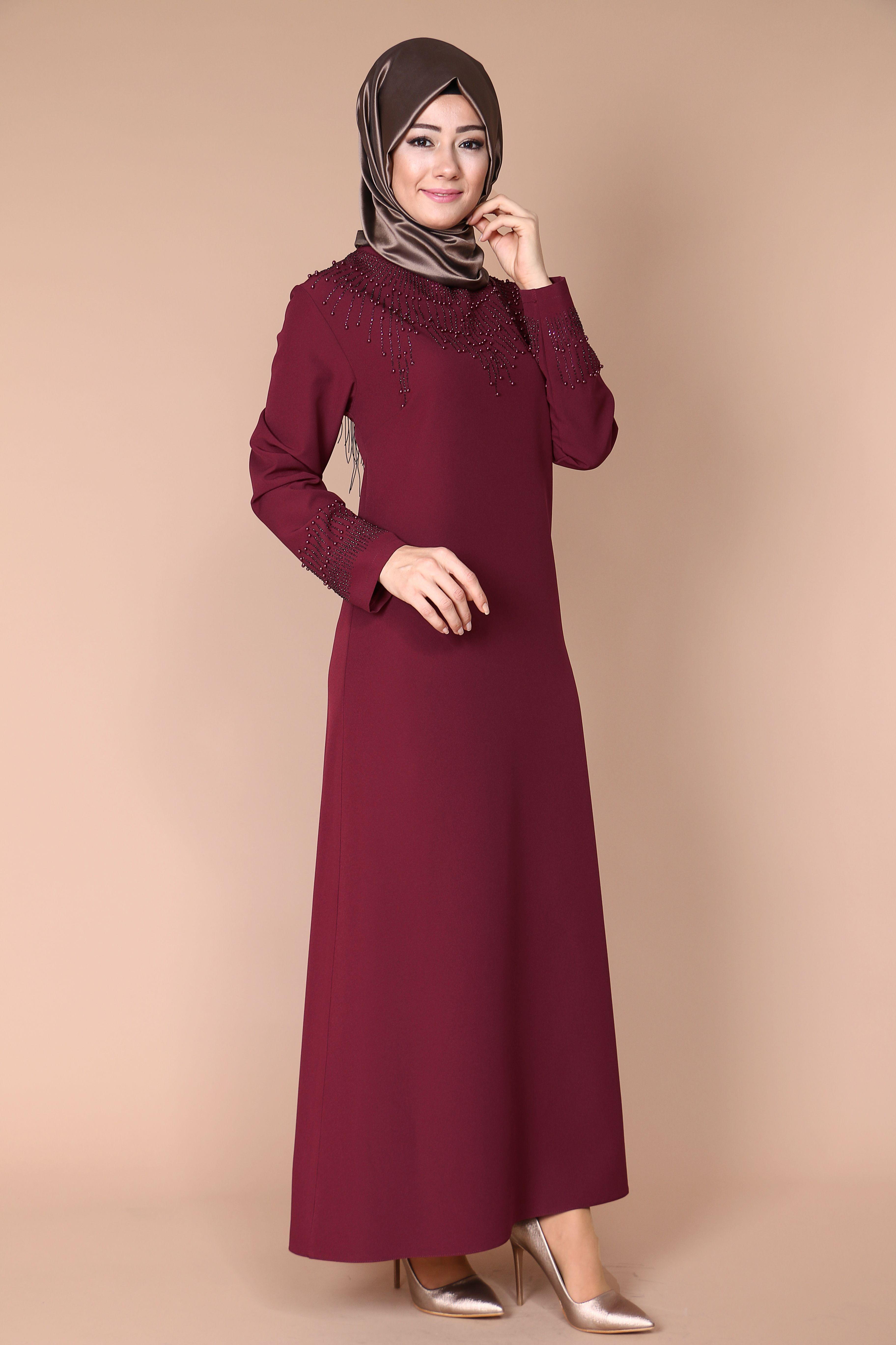 Guler Incili Elbise 129 90 Tl Siparis Www Modaselvim Com Urun Kodu Obn159 Beden Araligi 46 56 Modaselvim Tesettur Tesettu The Dress Elbise Islami Moda