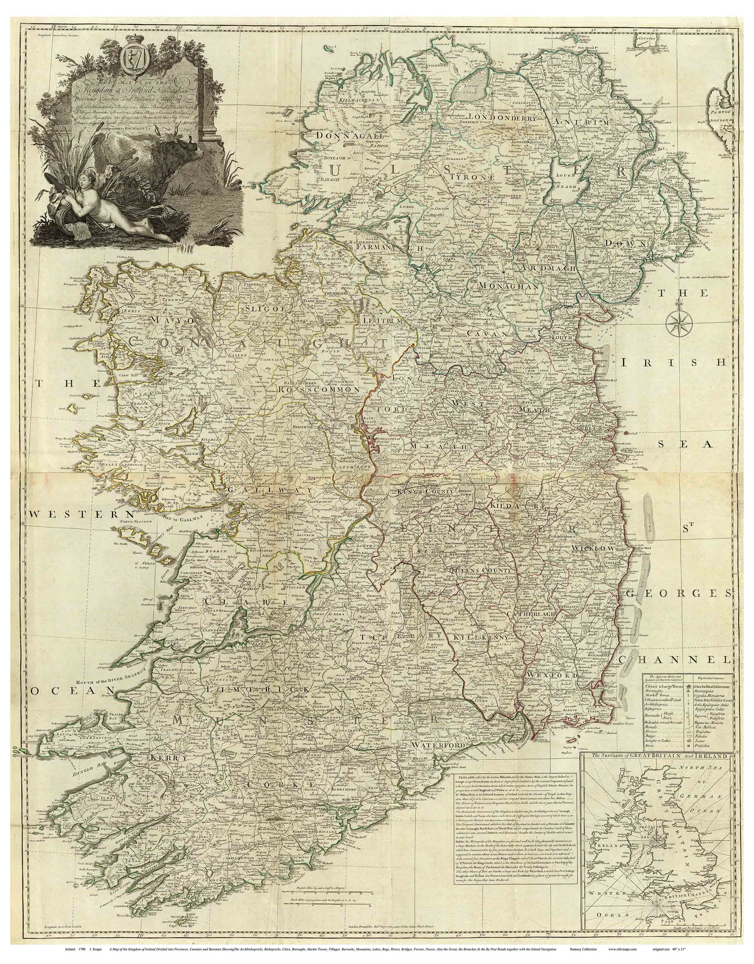 Old Maps Of Ireland 1790 Roque A Map Of The Kingdom Of Ireland Divided Into Provinces Counties And Baronies Showing Ireland Map Old Maps Vintage World Maps