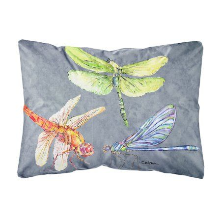 Dragonfly Times Three Canvas Fabric Decorative Pillow Multicolor