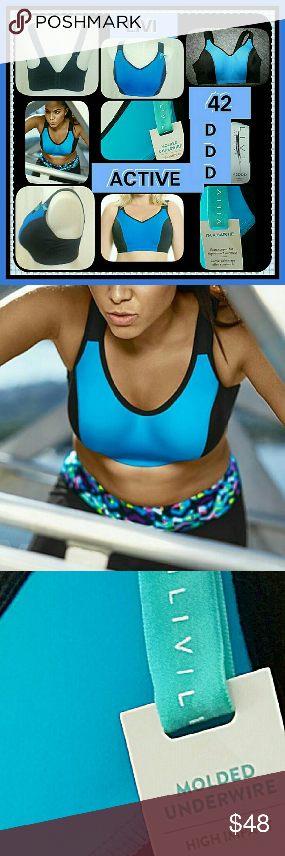 b9664c6ab3 🆕💙♥NWT LIVI WONDERFUL BLUE SPORTS BRA 42DDD🆕💙♥ 🆕💙♥THIS IS ...