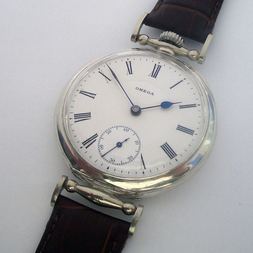 02af12c8b Rare Swiss ANTIQUE Silver Wristwatch OMEGA with Enamel Dial ...