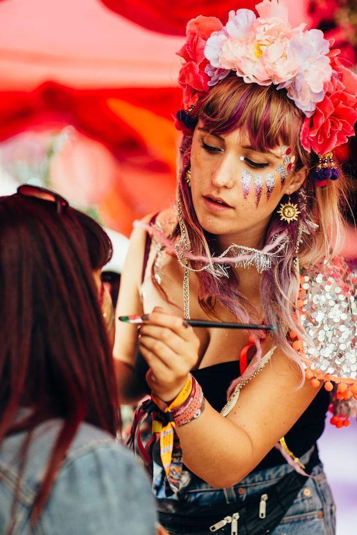 maquillage hippie femme carnaval. Black Bedroom Furniture Sets. Home Design Ideas
