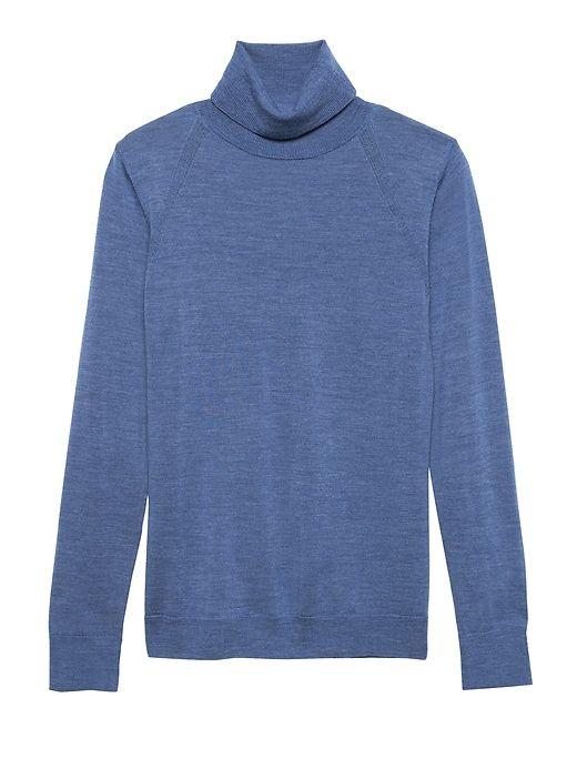 718ef5bf04d Banana Republic Womens Machine-Washable Merino Turtleneck Sweater Heather  Blue