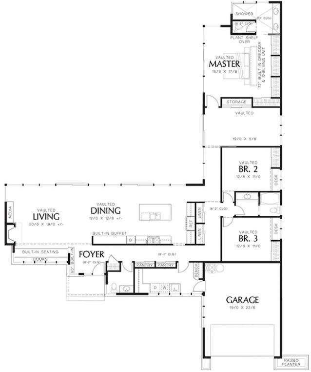 Diseno De Casa En Forma De L Ideas For The House In 2018 - Planos-de-casas-en-l