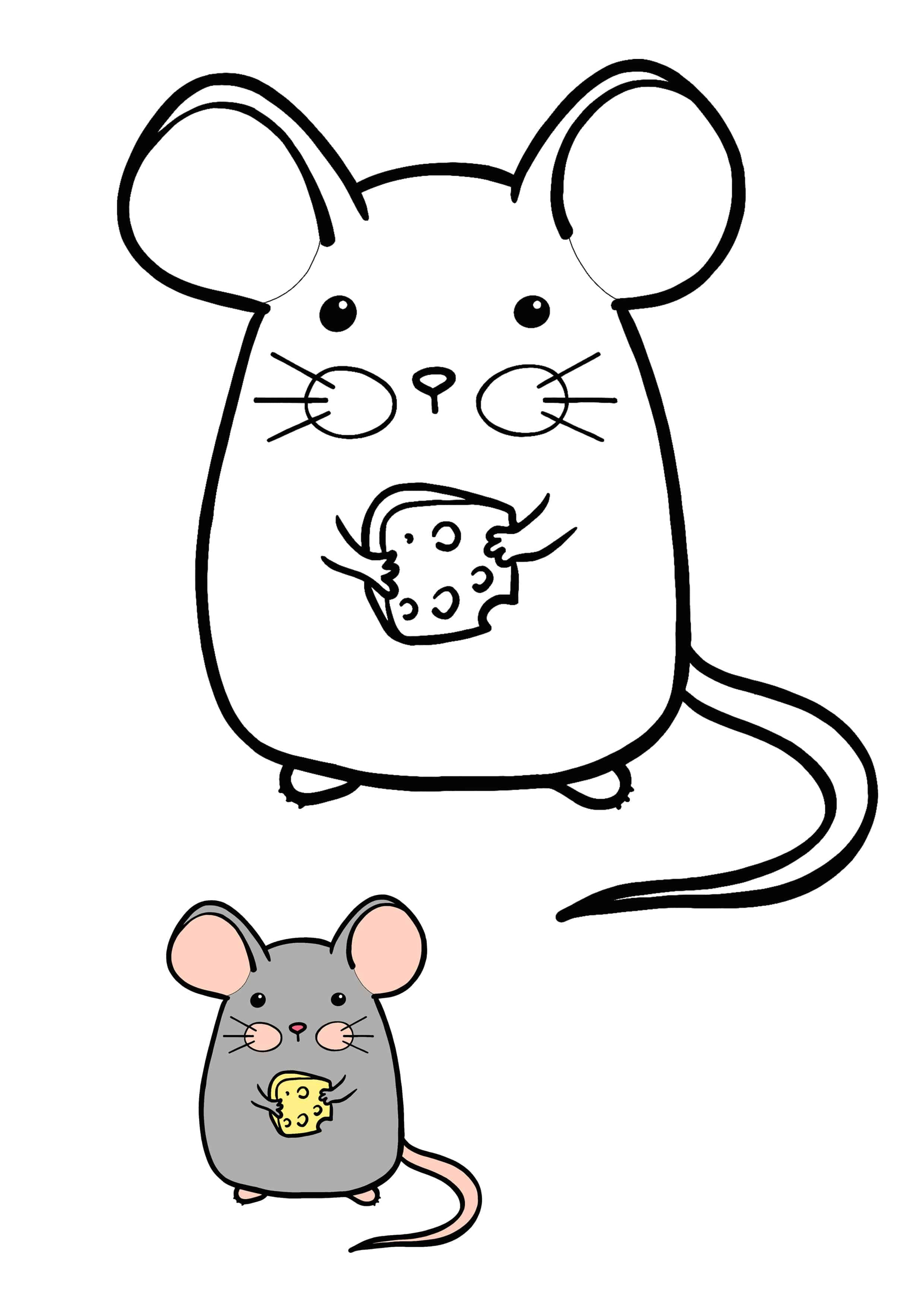 Kawaii Mouse With Cheese Coloring Page Coloring Pages Free Printable Coloring Sheets Mouse Color