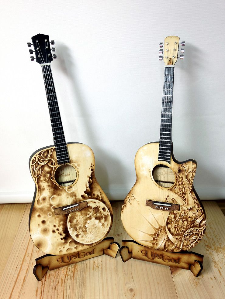 Wood Burn Designs 1 4 Scale Miniature Guitar Pyrography