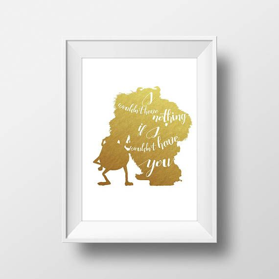 Wall Art Disney Mike and Sally Gold Quote Print,Monsters inc.,Disney ...