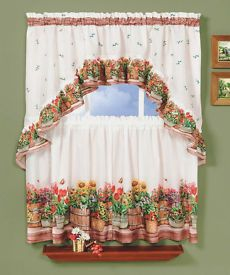 Country Garden Is A Rustic Tier Swag Set The Set Includes One Pair Of Tiers One 57 W Sweet Home Collection Kitchen Curtain Sets Country Curtains