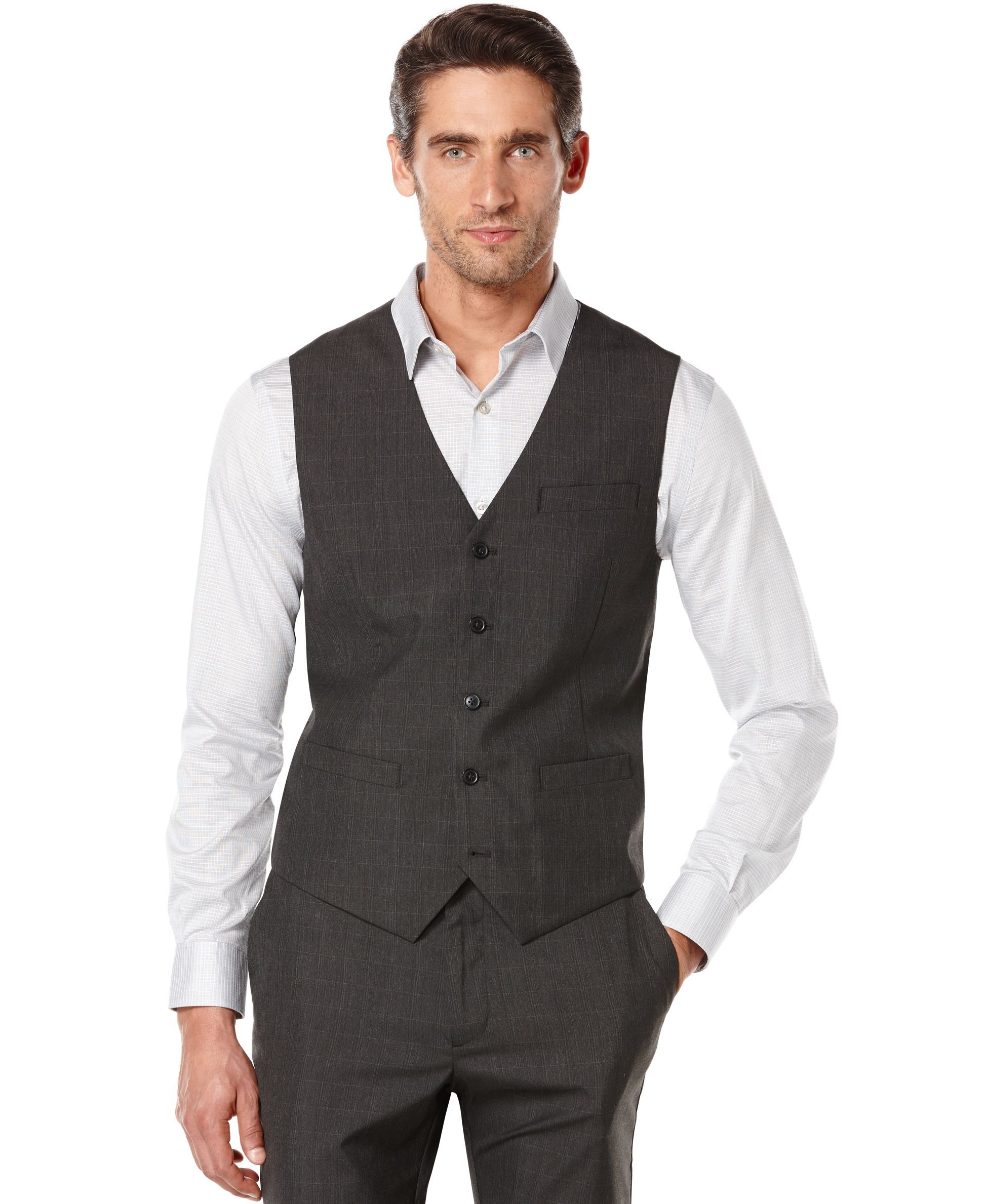 Perry Ellis Tonal Windowpane Plaid Vest