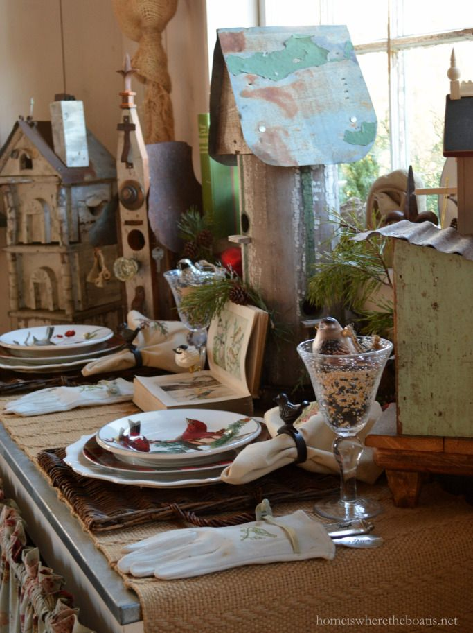 Birds of a feather table with bird houses in Potting Shed | homeiswheretheboatis.net