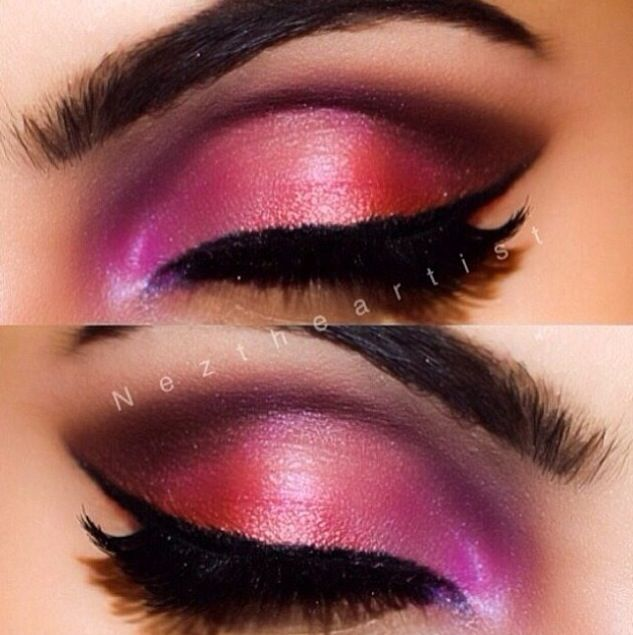 Eye Makeup By Neztheartist On Instagram Glossy Pink Red Purple