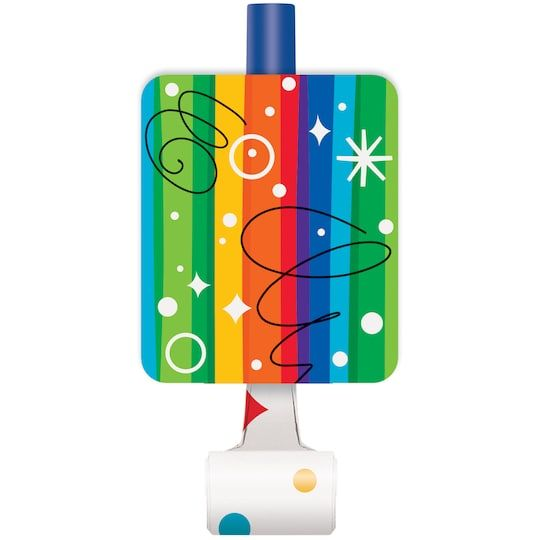 Rainbow Birthday Party Blowers, 8ct | Rainbow birthday ...