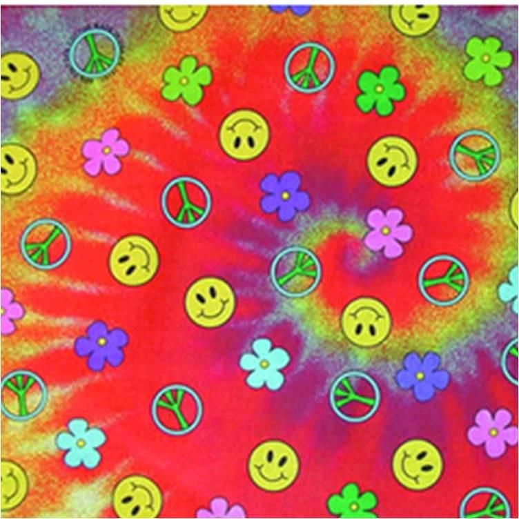 Tie Dye Bandana Hippie 60s Peace Sign Smiley Face Flowers Cotton Rainbow Colors
