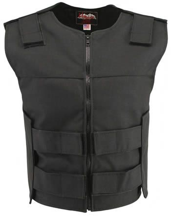 Women Bulletproof Style Motorcycle Vest Black Leather