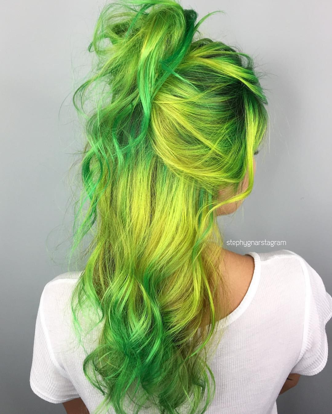 Green and yellow hair exclusive photo