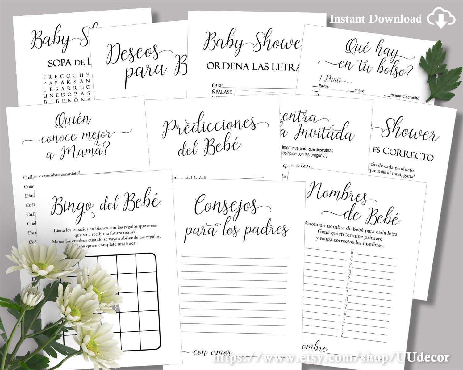 Black and White Spanish Baby Shower Games, Juegos de Baby Shower, Spanish Baby Shower Games, Juegos para Baby Shower, Instant Download