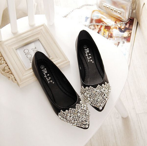 Size Rhinestone Crystal Pointed Toe Flat Office Lady Shoes Is And Comfortable There Are Other Women Flats Loafers Online Mobile