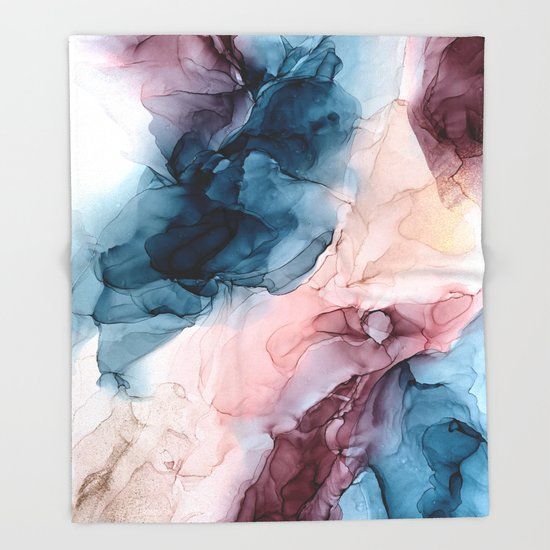 Pastel Plum, Deep Blue, Blush and Gold Abstract Painting Throw Blanket by elizabethschulz