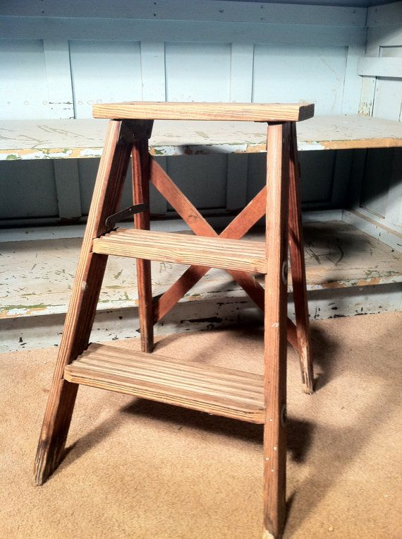 Small Vintage Wood Folding Ladder By Zassystreasures On