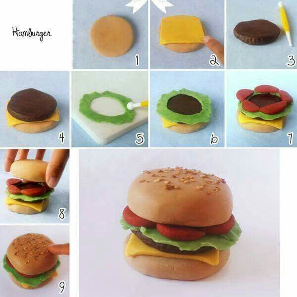 fimo creation fimo creations burger cake cake decorating et fondant tutorial. Black Bedroom Furniture Sets. Home Design Ideas