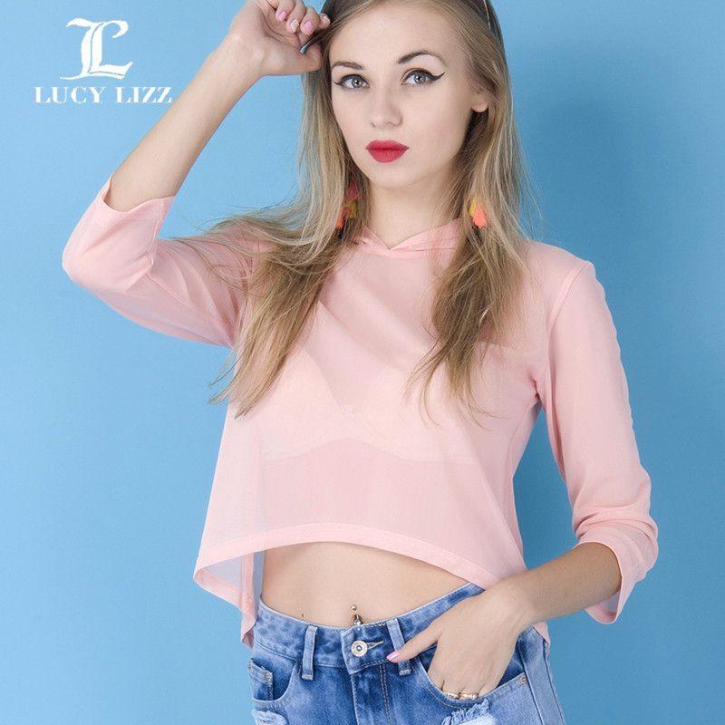 Pink See Through Hoody Hot! Autumn New Sexy Women Crop Top Mesh Cutout Shirt Women O Neck Sports Tee Tops Women Clothing