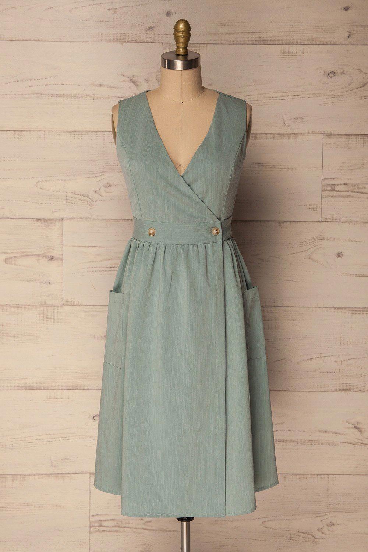 loket teal blue a-line wrap cocktail dress | la petite