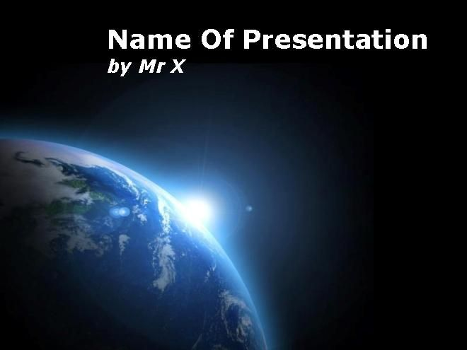 Earth in Black Space Main PPT Presentation Theme