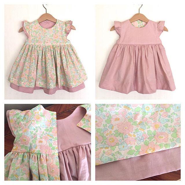 """I made reversible dress with Japanese Liberty print """"Betsy"""" size 1y. ☆ ☆  C&S限定リバティ「ベッツィ」で80cmのリバーシブルのドレスを作りました。 気分によって選べると思います。  18.Mar.2016"""