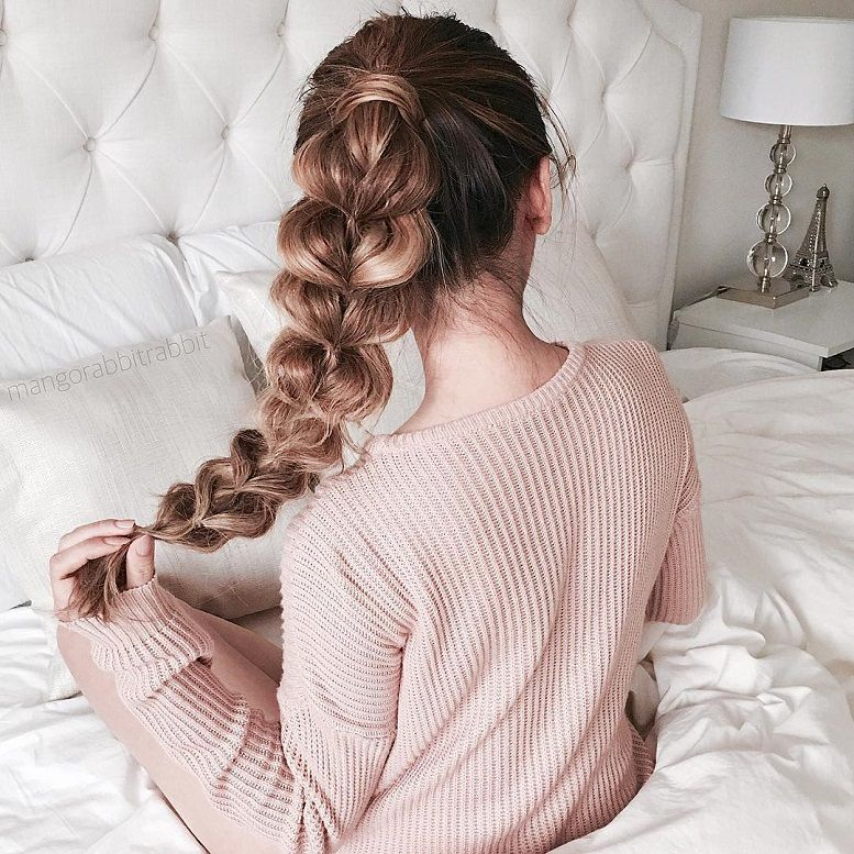 39 Trendy + Messy & Chic Braided Hairstyles – Pull through braided hairstyle