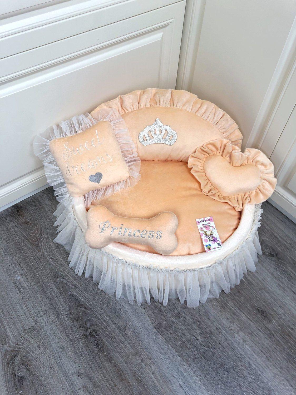 Peach princess dog bed with crown sparkles Designer pet